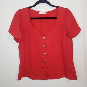 BOGO Rickis red gathered sleeve button top